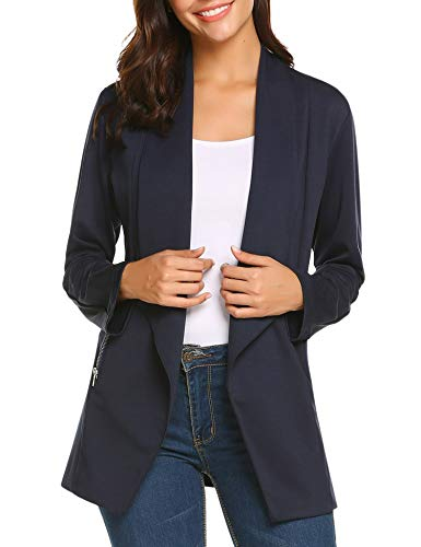 ELESOL Women's Fashion Long Sleeve Slim Fitted Ladies Office Blazer Suit Jacket Navy Blue/M