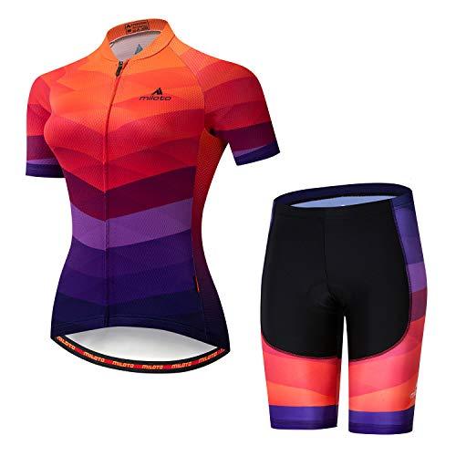 - MILOTO Women's Cycling Jersey Reflective Shirt Padded Shorts Set (S, Red Racing)