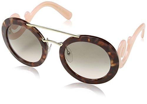 Prada PR13SS UE04K0 Spotted Brown Pink PR13SS Round Sunglasses Lens Category (Fair Trade Glass)