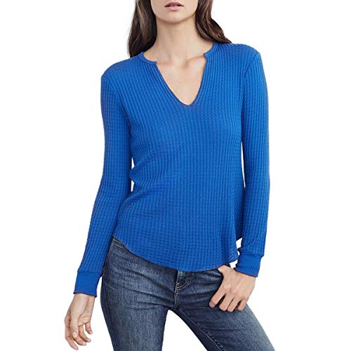 Waffle Knit Trim Tops - Velvet Womens Waffle Knit Ribbed Trim Thermal Top Blue S