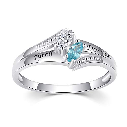 (Caperci Sterling Silver Couple's Engraved Name & Marquise Birthstone Personalized Ring (2 Stones and 2 Line))