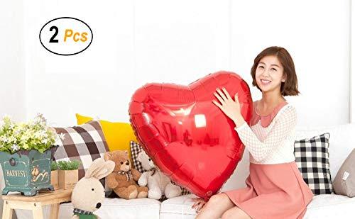 2 Set Large Size Heart Party Decoration Aluminum Foil Membrane Balloon ( Red )