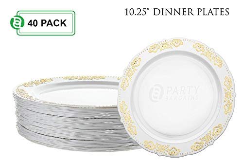 Party Bargains Disposable Plastic Plates | Heavyweight & Premium Quality China Like Dinnerware for Weddings, Bridal Showers, Engagement Parties & More | 10.25 Inches Gold Dinner Plates | 40 ()