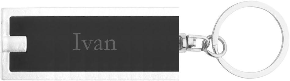 Llavero pl/ástico personalizado con l/ámpara LED con Ivan nombre de pila//apellido//apodo