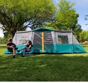 Americ Empire Tienda de campaña familiar para camping con 3 habitaciones XL (21 pies x 10 pies). Gran tienda de campaña para 14 - 13 - 12 personas resistente al agua. Tienda