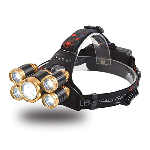 NEWEST Headlamp 12000 Lumen CREE LED Work Headlight with 18650 Rechargeable Batteries, 4 Modes IPX4 Waterproof Zoomable Flashlight Best Head Lights for Camping Running Hiking Hunting