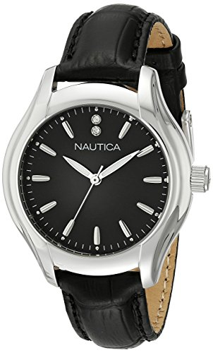 Nautica Women's NAD11003M NCT 18 MID Analog Display Quartz Black Watch