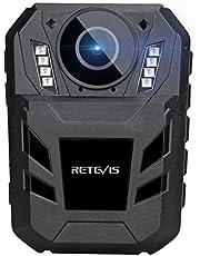 Retevis RT77B Bodycamera, door het Lichaam Gedragen Camera 1440P 4000mAh FHD-Videocamera, IP54 Draagbare Bodycam met IR-Nachtzicht, 170° Draagbare Camera voor Verkeer, Politie (Zwart, 32GB)