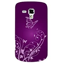 Exian ACE2X015 Samsung Galaxy Ace 2X TPU Case Butterfly and Flowers Purple-Retail Packaging