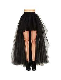 YOUMU Women Half Bustle Tulle Tutu Mesh Sheer Long Skirt Burlesque Petticoat Rockabilly