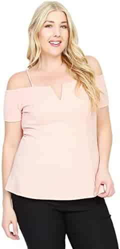 c4424e21 TheMogan Women's Cold Shoulder Short Sleeve Peplum Top Strappy Off The  Shoulders