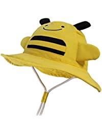 LANGZHEN Kids Sun Protection hat Cute Animals Designed Toddler Boys Girls Bucket hat (Yellow - bee, S: 6M-12M (48cm /18.9