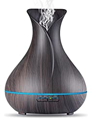 OliveTech Aroma Essential Oil Diffuser, 400ml Ultrasonic Cool Mist Humidifier with Color LED Lights Changing for Home, Yoga, Office, Spa, Bedroom, Baby Room - Wood Grain