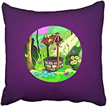 Kutita 18 x 18 inch Throw Pillow Covers,Happy Wishing Well Pattern Double-sided Sofa Cushion Cover Couch Bed Pillowcase Home Gift Decorative Hidden Zipper Design Cotton Polyester