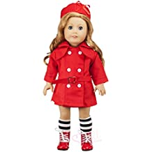 Doll Clothing Set for American Girl And Other 18 Inch Dolls - 3 Piece Outfit - Red Trench Coat and Matching Hat with Black and White Striped Socks - Fashion Doll Clothes by Modoll