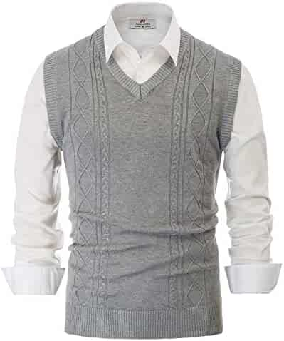 PAUL JONES Mens V Neck Sweater Vest Cable Knitted Pullover Sweaters Vest