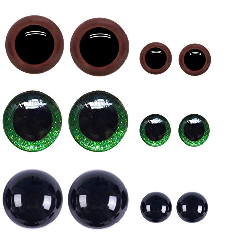 XeeDoo Plastic Doll Eyes,Safety DIY Nose with Washers for Crafts,Crochet Doll and Stuffed Animal Teddy Bear Making 18 mm 12mm Colorful Black&Brown&Green