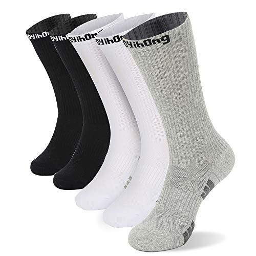 Aoyihong Men's Athletic Breathable Crew Socks Trainer Cushioned Sports Cotton Socks 5 Pairs(Multi, L)