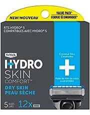 Schick Hydro Skin Comfort Dry Skin 5 Blade Razor Refills, 12 Count