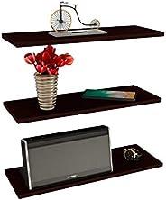 3 Repisas Flotantes Minimalistas Melamina Vintage 40x15 cm - Chocolate Texturizado