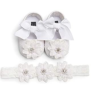 LIVEBOX Baby Girls Shoes Soft Sole Prewalker Mary Jane Princess Party Dress Crib Shoes with Free Flower Baby Headband (M:6-12 Months/4.72, White)