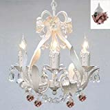 WHITE IRON CRYSTAL FLOWER CHANDELIER LIGHTING W/ FLOWERS! - PERFECT FOR KID'S AND GIRLS BEDROOM! - Dressed with Authentic Capodimonte Porcelain Flowers Made in Italy!
