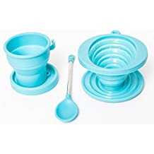 Brooklyn Ice Company - Collapsible Coffee Silicone Set - 5 Ounce Cup, Cone Filter, Spoon in Blue