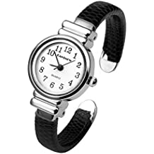 Top Plaza Kids Girls Casual Chic Simple Arabic Numeral Bangle Cuff Watch for Small Wrist,Thanksgiving Christmas Xmas Gift,Black