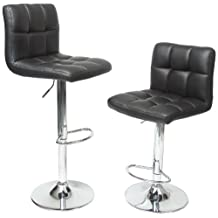 Roundhill Swivel Black Leather Adjustable Hydraulic Bar Stool, Set of 2