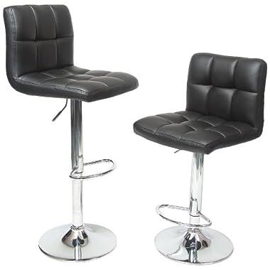 Roundhill Furniture Swivel Black Bonded Leather Adjustable Hydraulic Bar Stool, Set of 2