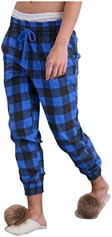 Womens Plaid Pajamas Pants with Pockets, Lounge & Sleep Pj Bottoms Comfy Soft Pjs Casual Drawstring Trousers