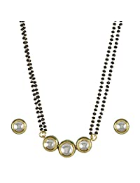MUCH MORE Trendy Kundan CZ Fashion Jewelry Traditional Mangalsutra Golden Black Beads Chain Set