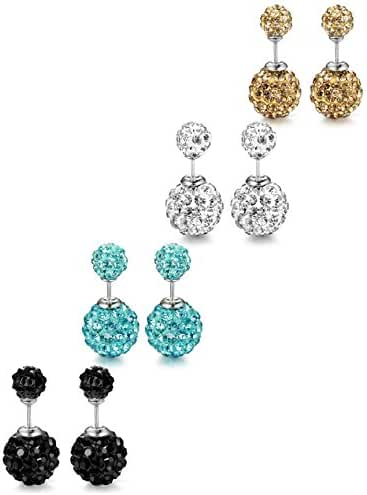 ORAZIO 3-4 Pairs Stainless Steel Cubic Zirconia Stud Earrings for Women Ear Pierced Double Beads