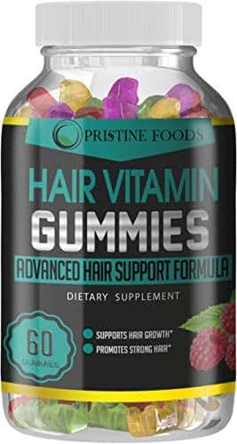 Pristine Foods Ultra Premium Hair Growth Biotin Vitamin Gummies Hair Skin Nails Vitamins Faster Hair Growth Hair Loss Treatment Care Thickening for Women & Men Thinning Hair Beard Regrowth Made in USA