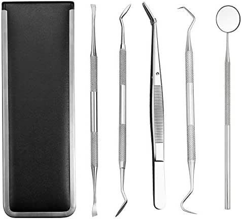 Dental Tools, Stainless Steel Dental Hygiene Kit Calculus & Plaque Remover Set with Mouth Mirror Tartar Scraper Dental Scalper Pick Tweezers for Personal or Pet Teeth Cleaning Dentist Home Use Tools