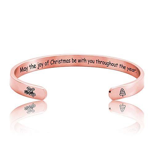 YUGHGH Ladies Gift Cuff Bracelet May The Joy of Christmas be with You Pink