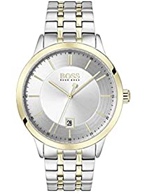 BOSS Men's Officer Quartz Stainless Steel and Two Tone Bracelet Casual Watch, Color: Two Tone Yellow and Silver (Model: 1513687)