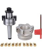 MT2-FMB27 Collet Chuck Holder, 80-27-6-Flute Milling Cutter, 1604APMT Milling Inserts CNC Machine Tools(10PCS Milling Inserts)