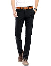 INFLATION Men's Trousers Stretch Pants Slim Casual Pants 100% Cotton