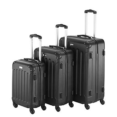 VonHaus 3 Piece Extra Strong ABS Luggage Set Black
