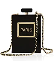 Women's Acrylic Paris Perfume Shaped Black Bag Purses Clutch Evening Bags Vintage Banquet Handbag