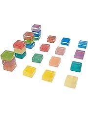 Imanes de cristal cuadrados para la oficina de la cocina, refrigerador magnético de 15 mm de Iman Decoración divertida multicolor (paquete de 24)