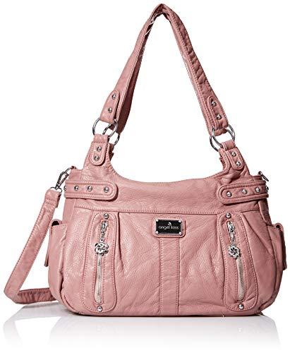 Pink Soft Handbag - Angelkiss Design Handbags Womens Purse Feel Soft Lether Multiple Top Zipper Pockets Shoulder Bags Large ...