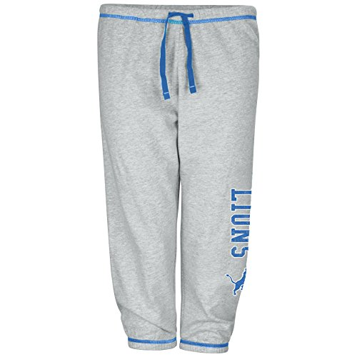 NFL Detroit Lions Women Lt Weight Fleece Pant W/Topstitch Trim Outside Ds W/M Logo Down Leg, Heathergrey, 2X -