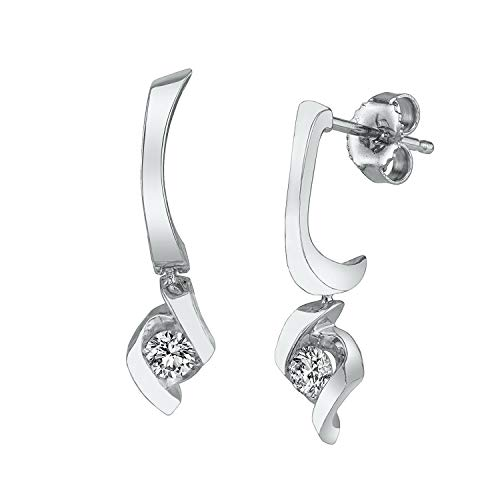 (Sirena 1/4 ct. tw. Round Diamond Dangle Earrings in 10K White Gold - JSL1701WR5J@10W)