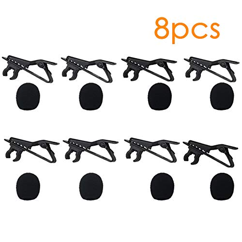 BAISDY 8PCS Mini Size Microphone Windscreen Foam Mic Cover for Lavalier Lapel Microphone with Lapel Clips