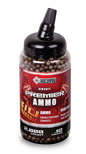 Crosman SE13BT22T Elite Premier Airsoft Camo Biodegradable .12g Airsoft Ammo (2000 Count), Tan and Green