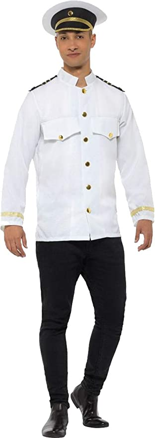 1920s Men's Costumes: Gatsby, Gangster, Peaky Blinders, Mobster, Mafia Smiffys Fancy Dress Party Captain Jacket White Large $47.49 AT vintagedancer.com