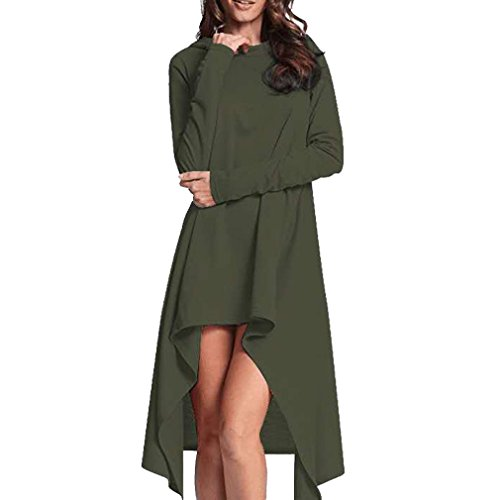 Women Dress, Gillberry Women Ladies Long Loose Irregular Hoodie Tops Sweatshirt Sweater Blouse (L, Green)