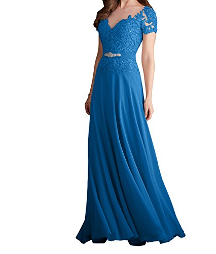 Champagner Charmant Dunkel Kurzarm Partykleider Abendkleider Damen Rock Chiffon Blau Spitze Festlichkleider 5qqxrAgw